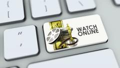 Watch Online button on computer keyboard. Key is pressed, click for HD - stock footage
