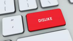 Dislike button on computer keyboard. Key is pressed, click for HD Stock Footage