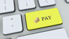 Pay button on computer keyboard. Key is pressed, click for HD Stock Footage
