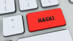 Hack button on computer keyboard. Key is pressed, click for HD Stock Footage