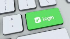 Login button on computer keyboard. Key is pressed, click for HD - stock footage
