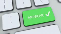 Approve button on computer keyboard. Key is pressed, click for HD Stock Footage