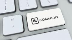 Comment button on computer keyboard. Key is pressed, click for HD - stock footage