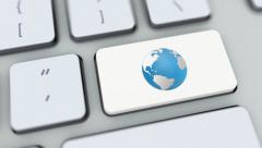 Globe button on computer keyboard. Key is pressed, click for HD - stock footage