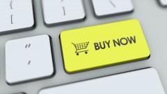 Buy Now button on computer keyboard. Key is pressed, click for HD Stock Footage