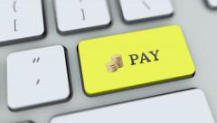 Pay button on computer keyboard. Key is pressed, click for HD - stock footage