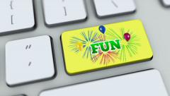 Fun button on computer keyboard. Key is pressed, click for HD - stock footage