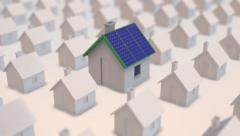 Housing development average grey eco-house solar panels Stock Footage