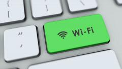 Wi-Fi button on computer keyboard. Key is pressed, click for HD Stock Footage
