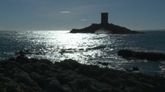Massif de L'Esterel Golden Islands with Tower Stock Footage