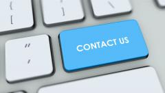 Contact us button on computer keyboard. Key is pressed, click for HD - stock footage