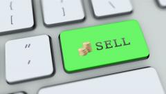 Sell button on computer keyboard. Key is pressed, click for HD - stock footage