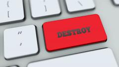Destroy button on computer keyboard. Key is pressed, click for HD Stock Footage