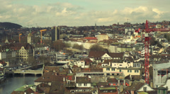 Panorama of beautiful Zurich Cityscape Stock Footage