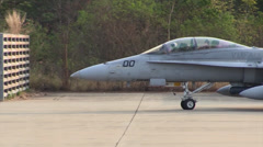 Marine FA-18Ds Hornet taxis to the runway Stock Footage