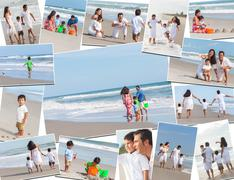 Montage happy family parents & two children beach Stock Photos