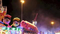 Carnival Fair Ground Rides Night Screams Stock Footage