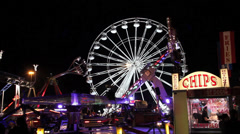 Big Wheel Carnival Fair Ground Rides Night Night Shot Stock Footage