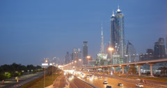 Ultra HD 4K Dusk Light Dubai Skyline Downtown Busy City Street Crowded Highway Stock Footage