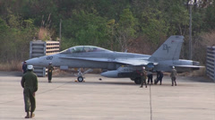 Marine FA-18Ds Hornets on the Flight Line During Cobra Gold 2014 Stock Footage