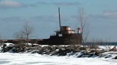 Port Credit Ice Ship Stock Footage