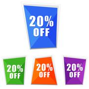 20 percentages off, four colors labels - stock illustration