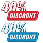 40 percentages discount in two colors labels, flat design - stock illustration