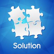 solution and puzzle pieces over blue background, flat design - stock illustration