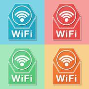 wifi symbol, four colors web icons - stock illustration