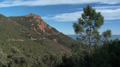 Massif de L'Esterel High Mountain Pan Stock Footage