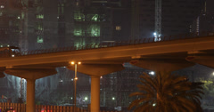 Ultra HD 4K UHD Subway Metro Train Railway Dubai Departing Passing Station Night Stock Footage