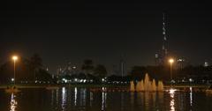 Ultra HD 4K Night Lights Safa Park Dubai Skyline Skyscrapers Burj Khalifa People Stock Footage