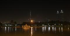 Ultra HD 4K Night Evening Lights Safa Park Dubai Skyline Burj Khalifa Boat Ride Stock Footage