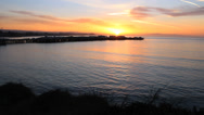 Stock Video Footage of Santa Cruz Sunrise Over The Ocean And Wharf