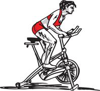 Stock Illustration of sketch of woman on stationary training bicycle