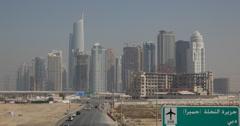 Ultra HD 4K Towers Skyscraper Jumeirah Lake Free Zone Dubai Marina Car Traffic Stock Footage