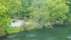 Panning Across the French Broad River in Asheville, NC Stock Footage