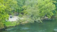 Stock Video Footage of Panning Across the French Broad River in Asheville, NC