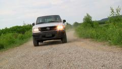Truck driving on gravel - stock footage