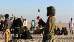 Venice Beach Hippy Practicing Juggling - stock footage