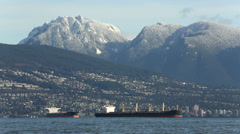 English Bay Freighters, Coast Mountains, Vancouver Stock Footage