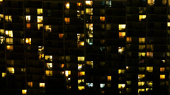 Urban Apartment Building Night Time Lapse Stock Footage