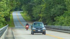Traffic on the Blue Ridge Parkway in Asheville during Summer Stock Footage