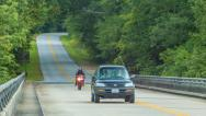 Stock Video Footage of Traffic on the Blue Ridge Parkway in Asheville during Summer