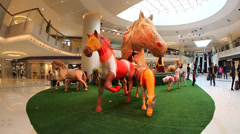 Horse sculptures in celebration of the Chinese New Year Stock Footage
