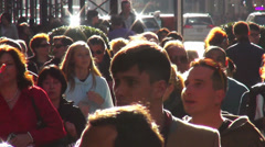 Crowd of people walking through Fifth Avenue - stock footage
