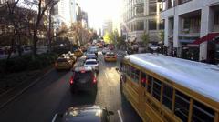 School Bus driving through Manhattan - stock footage