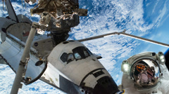 Space Shuttle next to Earth Spacewalk, HD Stock Footage