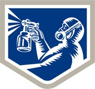 Spray painter spraying woodcut crest retro Stock Illustration