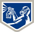 Stock Illustration of spray painter spraying woodcut crest retro